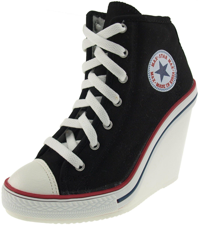 Maxstar Women's 777 Side Zipper Canvas High Wedge Heel Sneakers Black 6 B(M) US