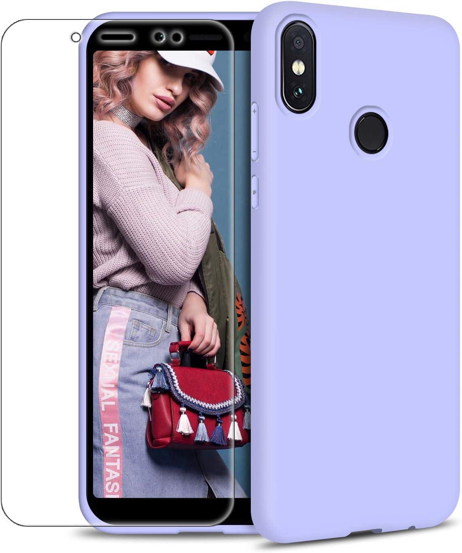 Funda Xiaomi Mi A2 + Protector de Pantalla de Vidrio Templado, Carcasa Ultra Fino Suave Flexible Silicona Colores del Caramelo Protectora Caso Anti-rasguños Back Case - Morado Claro