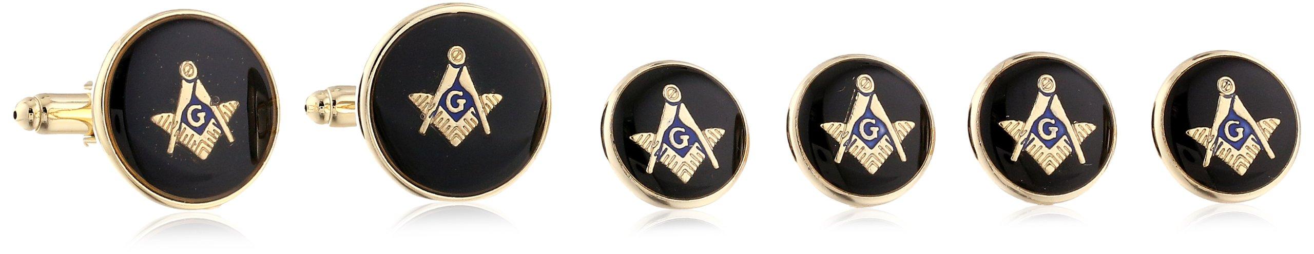 Status Men's Stud Set Masonic Round with Black Enamel With Masonic Compass, Gold, One Size