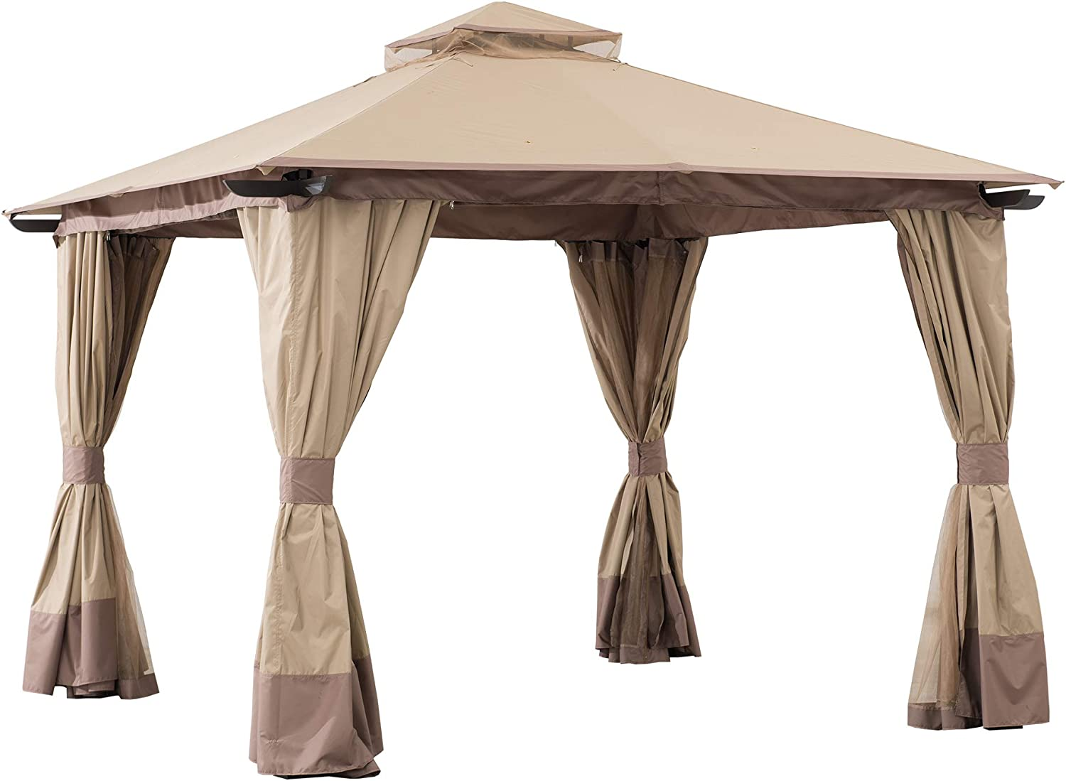 Sunjoy A101011700 Cristina 12x12 ft. Steel Gazebo with 2-Tier Hip Roof, Tan and Brown