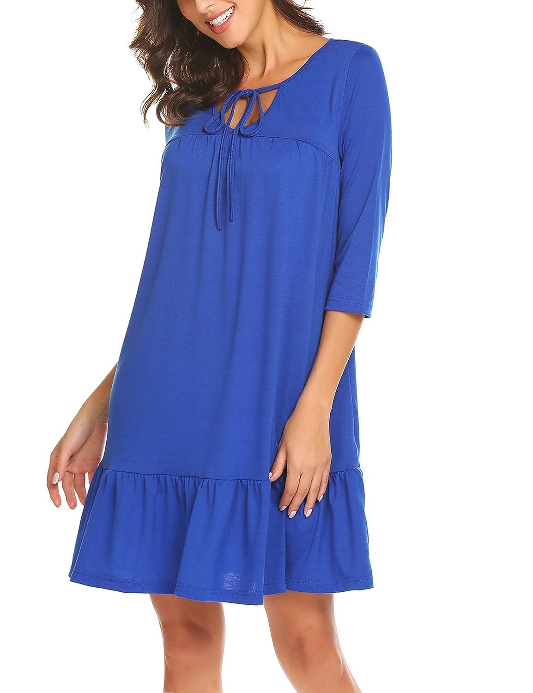 bluee BURLADY Women's V Neck Tunic Dresses Spring Empire Waist Babydoll A Line Swing Dress