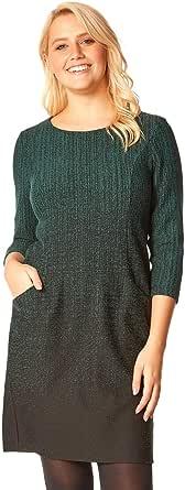 Roman Originals Vestido de manga tres cuartos con bolsillos para mujer, cuello redondo, manga corta, cuello redondo, con bolsillos