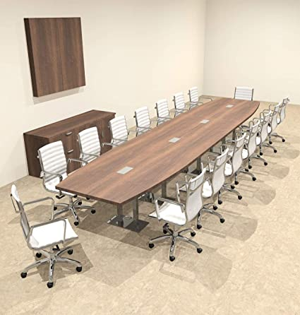 Amazoncom Modern Boat Shaped Steel Leg Feet Conference Table - 18 foot conference table