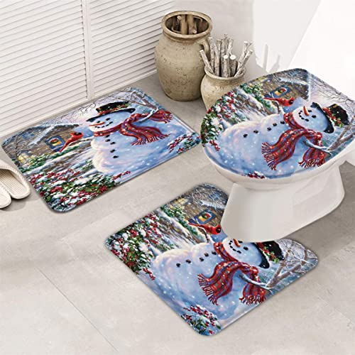 3 Pieces Bathroom Rugs Mats,Non-Slip Bath Rug Set,Happy Snowman Soft Absorbent Bath Mats Set Carpet