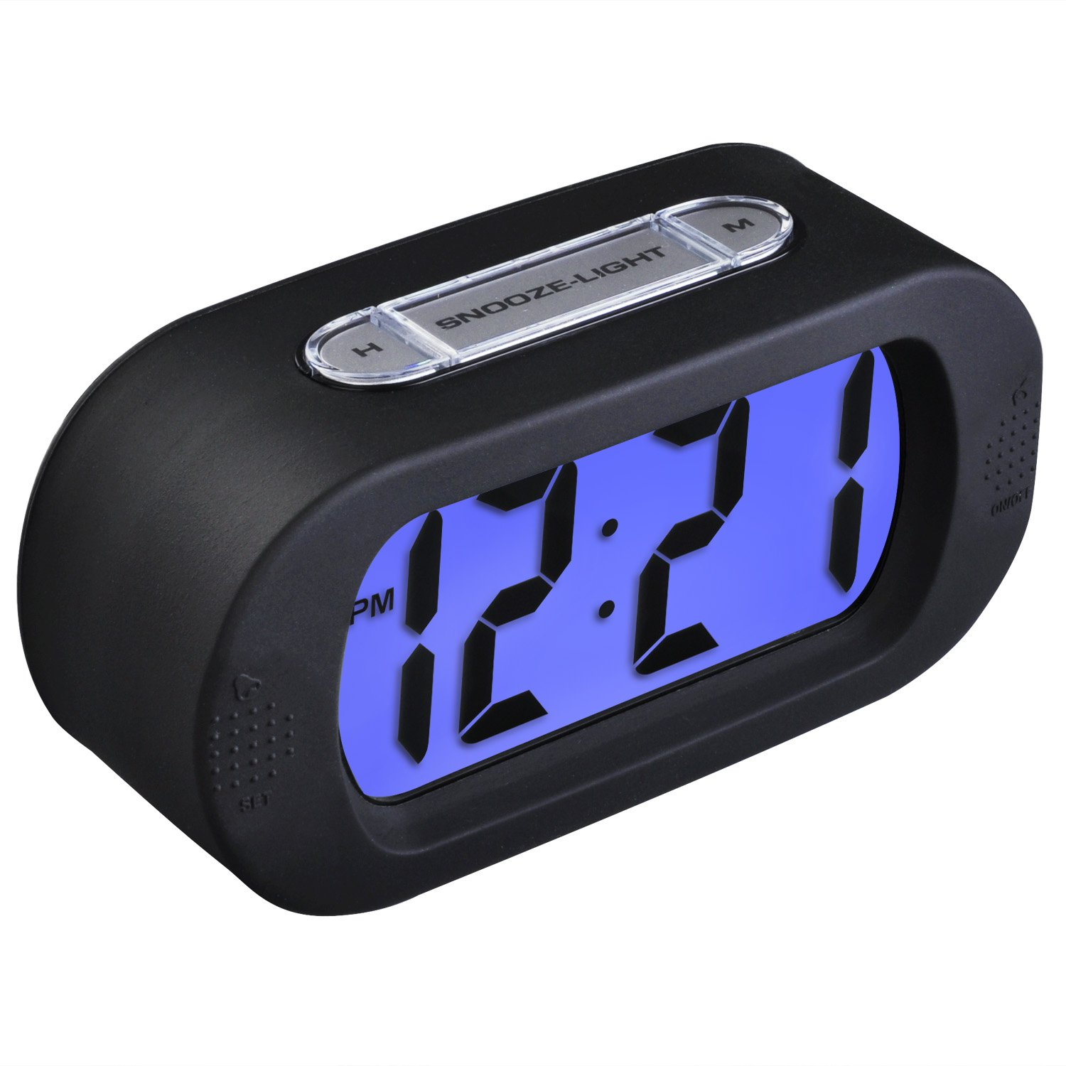 Boys Alarm Clock, Samshow Desk Clock, Travel Alarm Clock, Portable Clock, Simple Setting, Snooze Light, Shockproof, Large LED Screen, Progressively Louder Wake, Battery Powered included (Black)