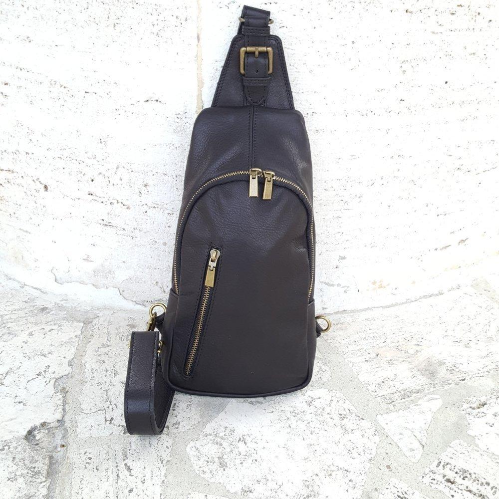 Mens leather backpack Black