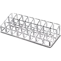 OKVGO Clear PS Lipstick Organizer for Cosmetic Make Up Holder (Crystal 24 Sections)