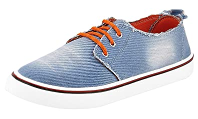 ETHICS Men\u0027s Blue Orange Wash Jeans Fashion Loafers \u0026 Moccasins Shoes  (Casual Shoes)