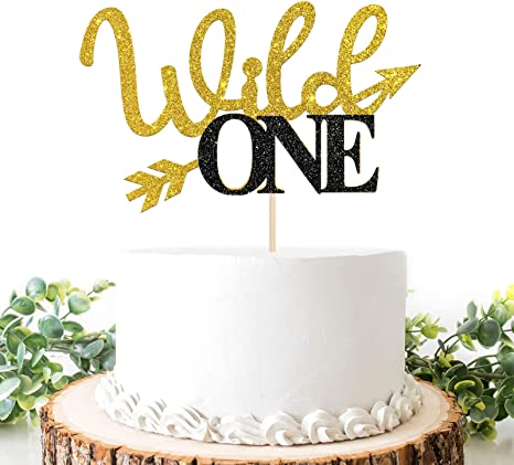 Glitter Wild One Cake Topper Baby First Birthday Happy 1st Birthday Cake Topper Baby Shower Party Decoration Supplies