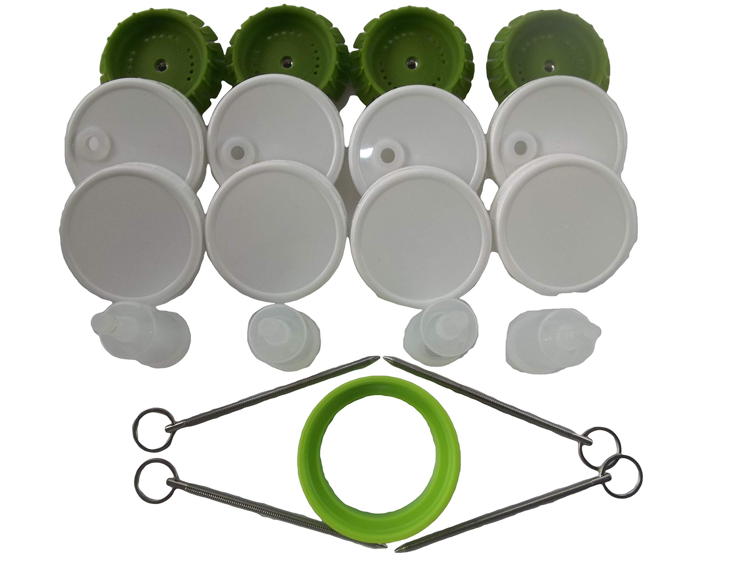 4 Pickle Pusher Small Batch Fermentation Kits. Complete with Airlock and Weight-Replacement. BPA Free. Holds 25X More Than Fermenting Weights. Fits Widemouth Mason Jars Not Included