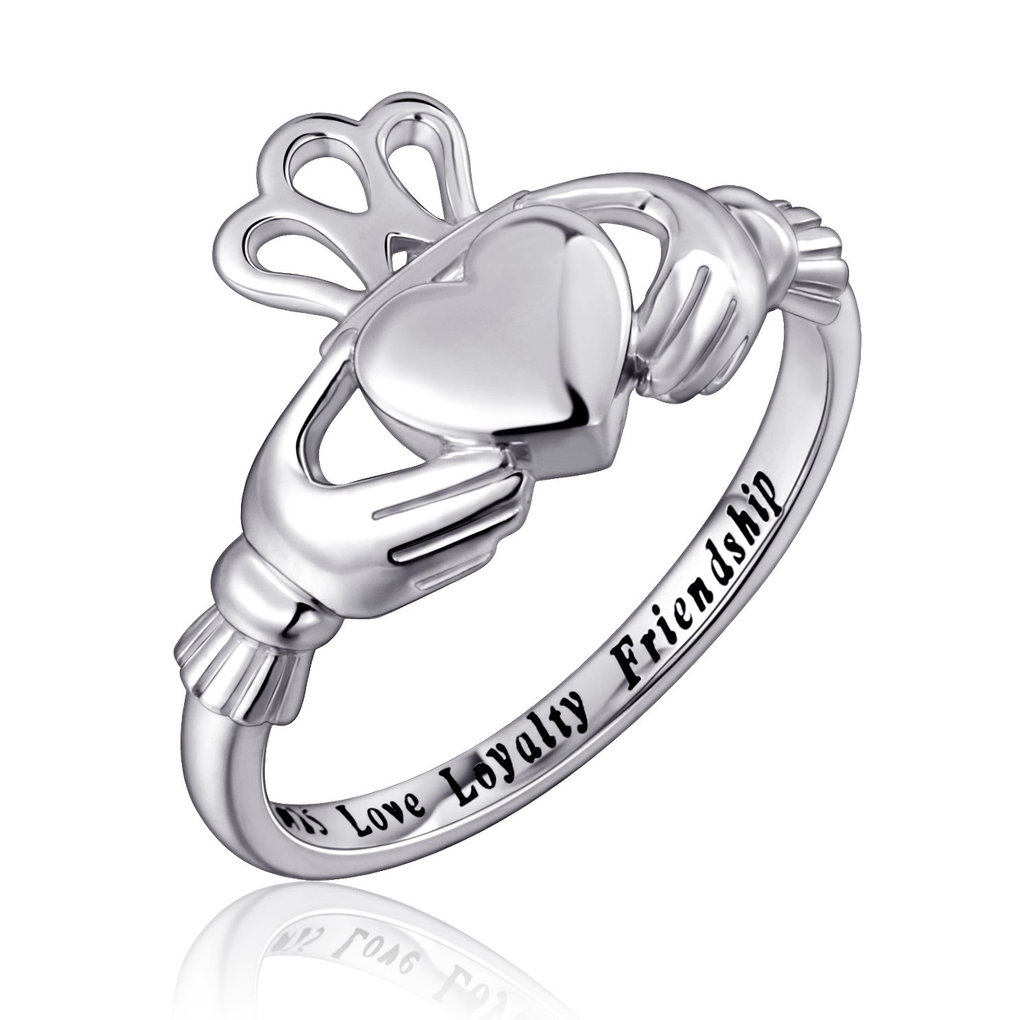 925 Sterling Silver Love Loyalty Friendship Irish Ladies' Claddagh Ring, Size 6