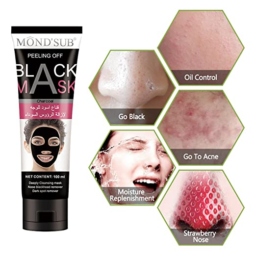e3b5798b92c0d Amazon.com  Mousand Black Mask Charcoal Peel off Blackhead Remover Mask  Deep Purifying Pores Strips Cleansing Black Face Mask For Nose Acne  Treatment  ...