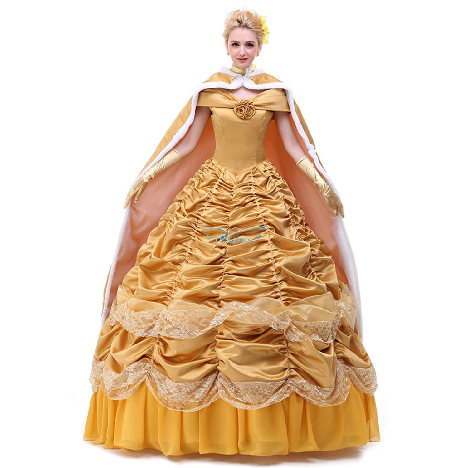 Belle Yellow Gown with Cloak Cosplay CostumeClick Here for Details Belle  Gold Ball Gown with Cloak - DeluxeAdultCostumes.com 767514391a73