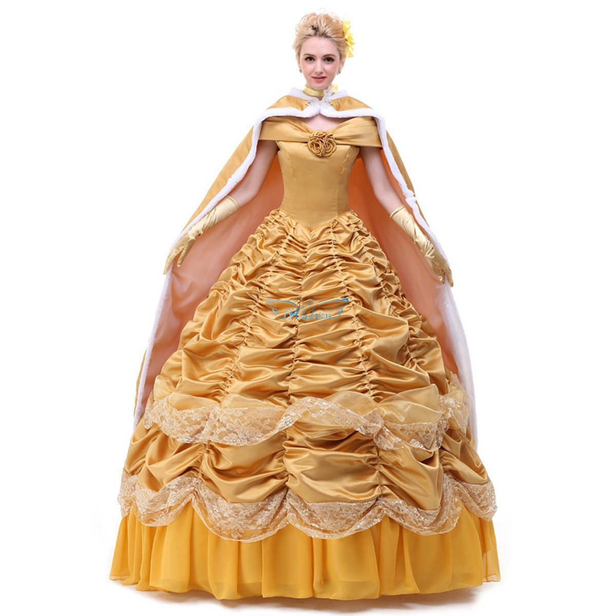 Angelaicos Womens Layered Prom Dresses Palace Queen Costume Cloak Petticoat (S, Satin Golden)