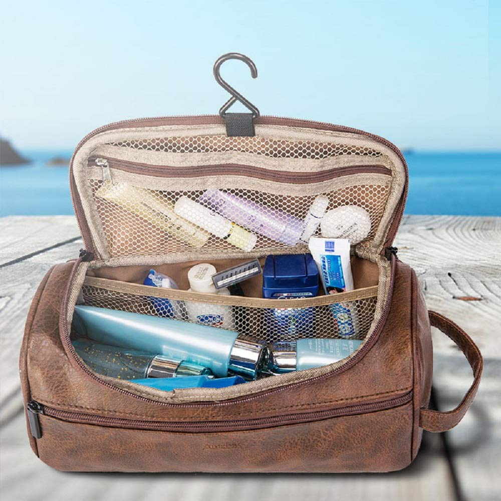 Ourtour Hanging Travel Cosmetic Organizer Toiletry Bag Brown