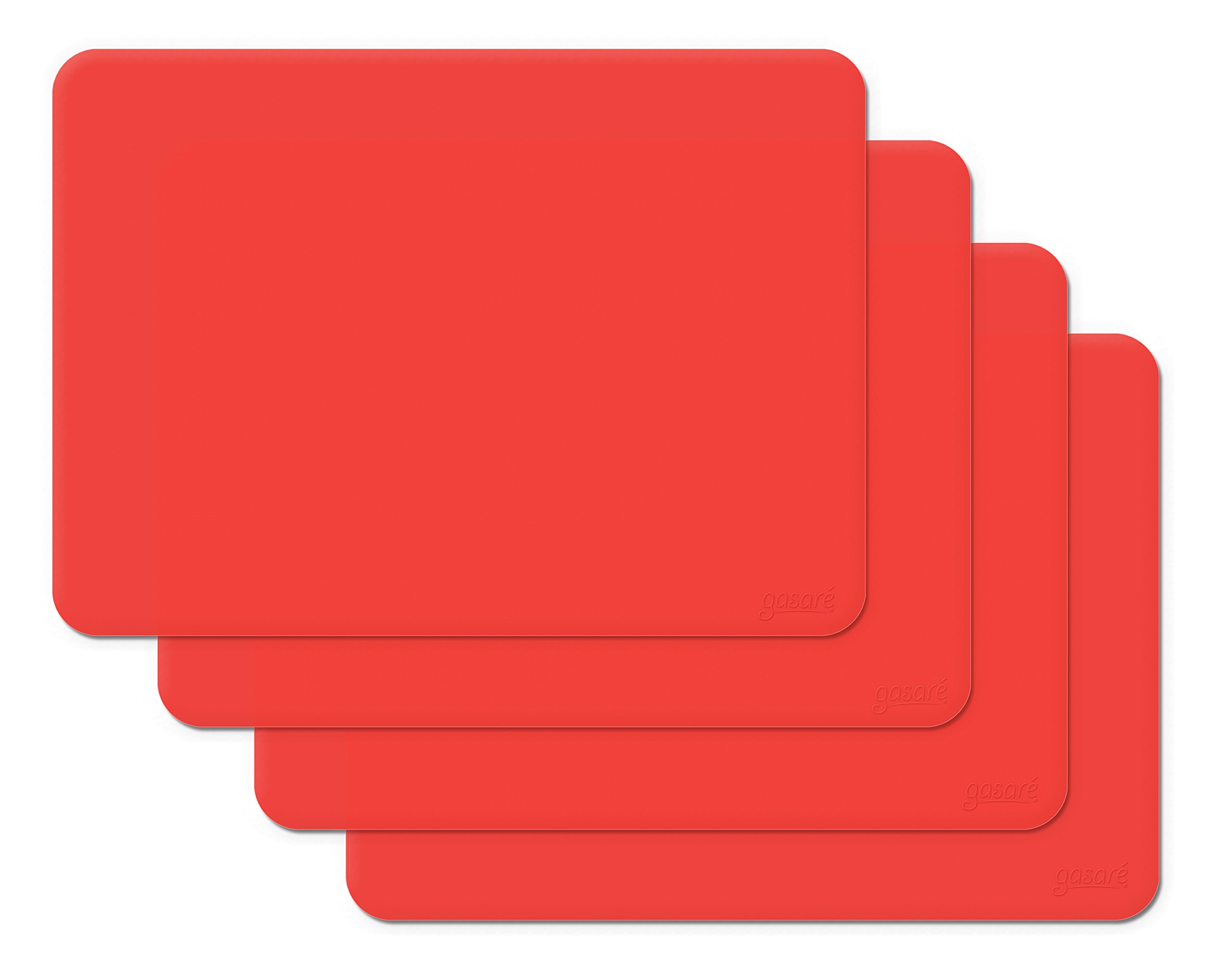 Gasare, Silicone Placemats, Kids Placemats, Non-slip Waterproof, Very Flexible Silicone, Assorted Colors, Size 16 x 12 Inches, Set of 4,Red