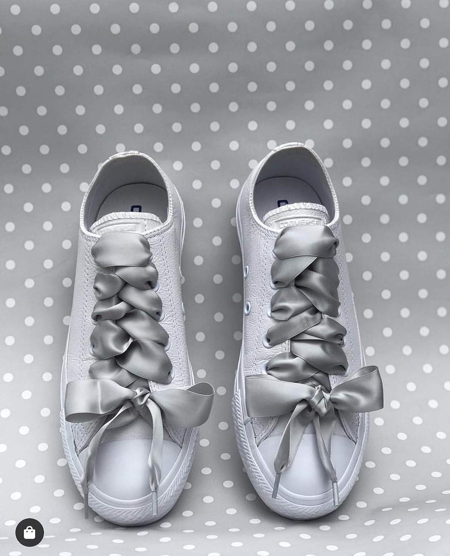 espejo de puerta ozono Regeneración  Cordones de zapatos Ideales para Converse Pimp My Shoes color plateado gris  Reebok Nike Adidas Vans Cordones de lazo de satén Dr Marten. Puma Zapatos y  complementos treatsales.dk