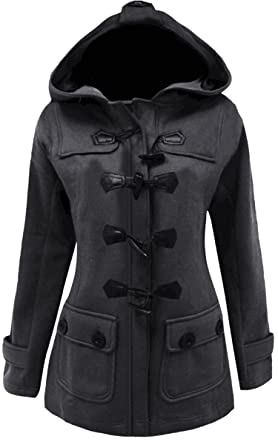 ee8b292a539 Meaneor Women s Plus Size Jacket Duffle Style Toggle Hoodie Pea Coat Top  (M