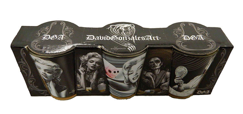 Set of 3 David Gonzales Art Shot Glass Marilyn