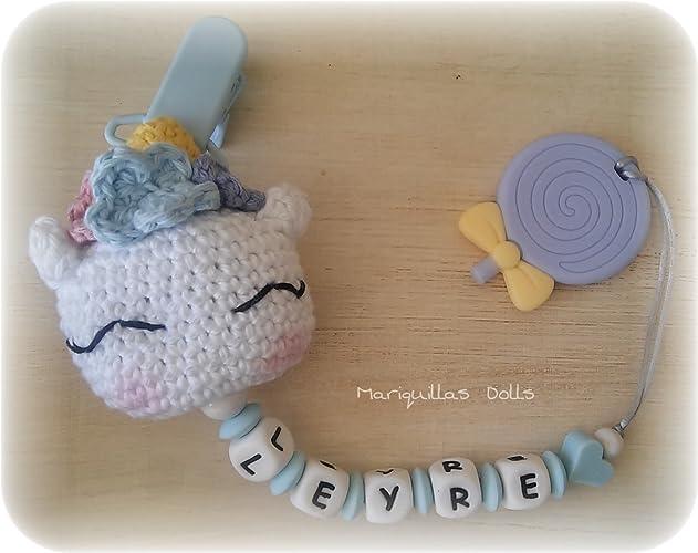 Chupetero Crochet PERSONALIZADO+MORDEDOR Piruleta- letras de ...