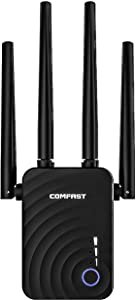 ComFast 1200Mbps WiFi Range Extender Signal Booster Repeater, Add Coverageup to 1200 sq.ft. in Your Home, in You House, Extend 2.4 GHz & 5.8GHz Wi-Fi,Simple Setup, Work with Any WiFi Routers