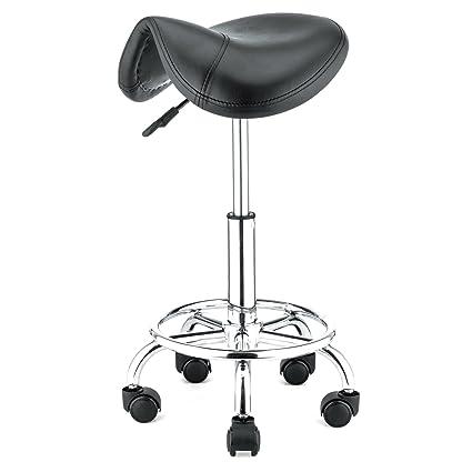 Amazon.com: Rolling Hydraulic Ergonomic Saddle Seat Bar Salon Chair ...