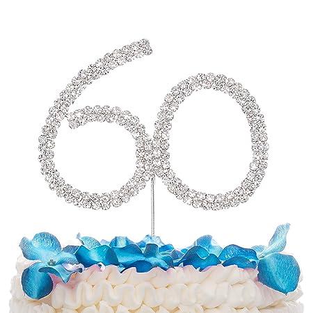STONCEL - Decoración para tarta de cristales brillantes con número 10/18/20/30/40/50/60 para cumpleaños, aniversario, boda, fiesta, decoración ...