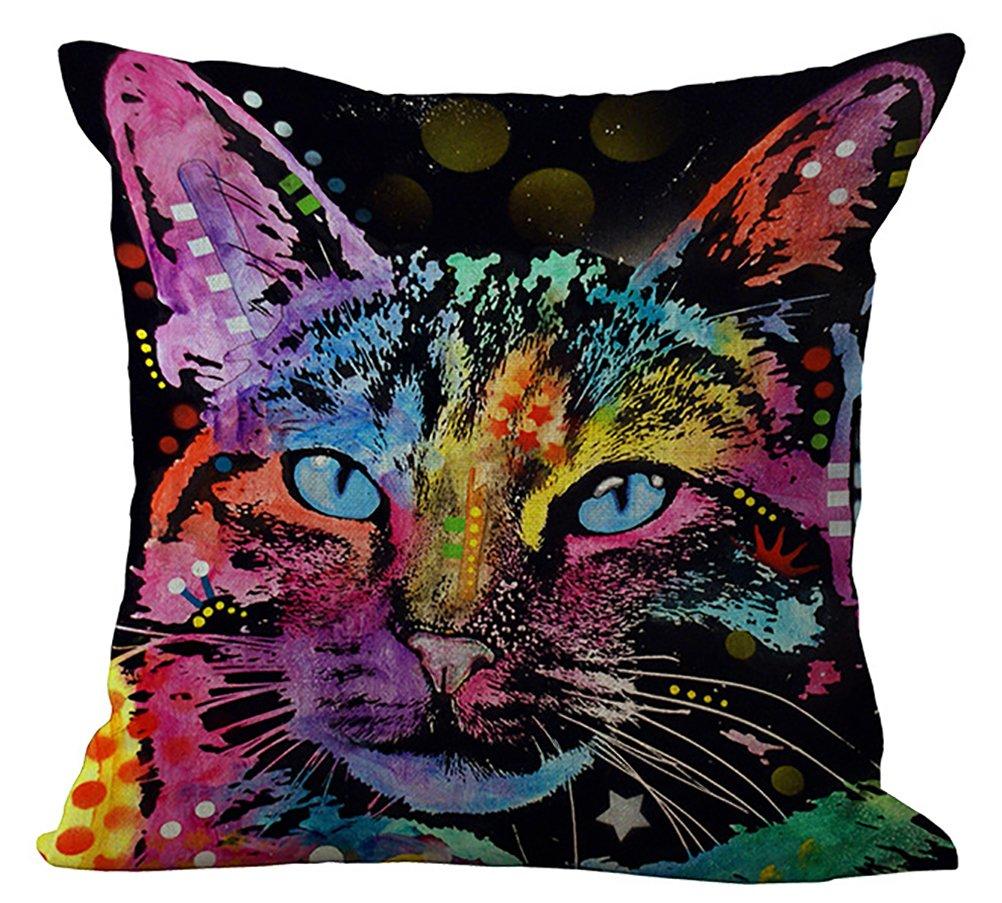 Artistic Multicolor Cat Print Throw Pillow Case
