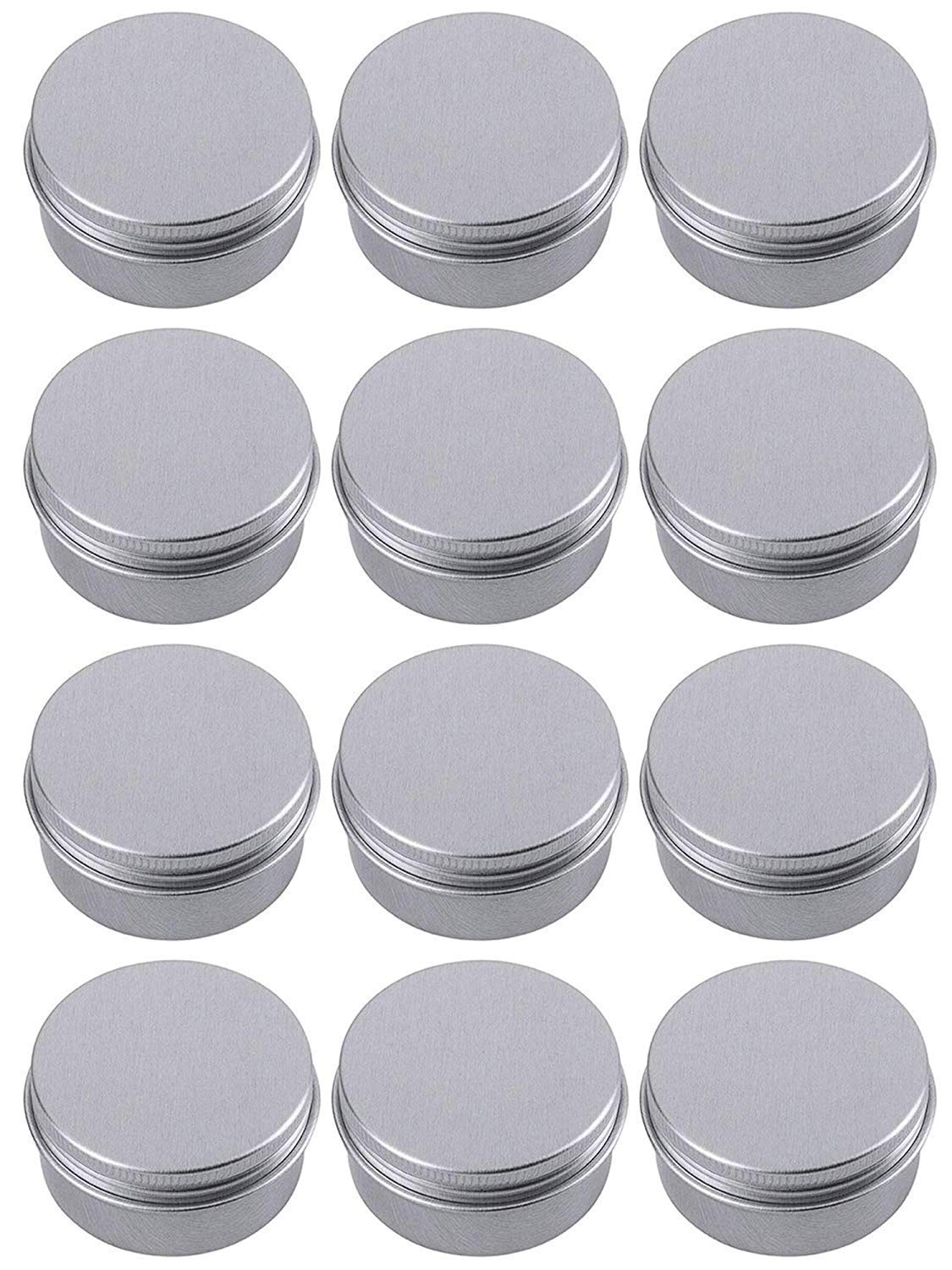 Hulless Aluminum Tin Jar 0.5oz Refillable Containers 15ml, Cosmetic Small tin, Aluminum Screw Lid Round Tin Container Bottle for Cosmetic ,Lip Balm, Cream, 12 Pack.