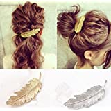 cuhair 2pcs Leaf Design Punk Women Girl Hair Clip Pin Claw Barrettes Accessories