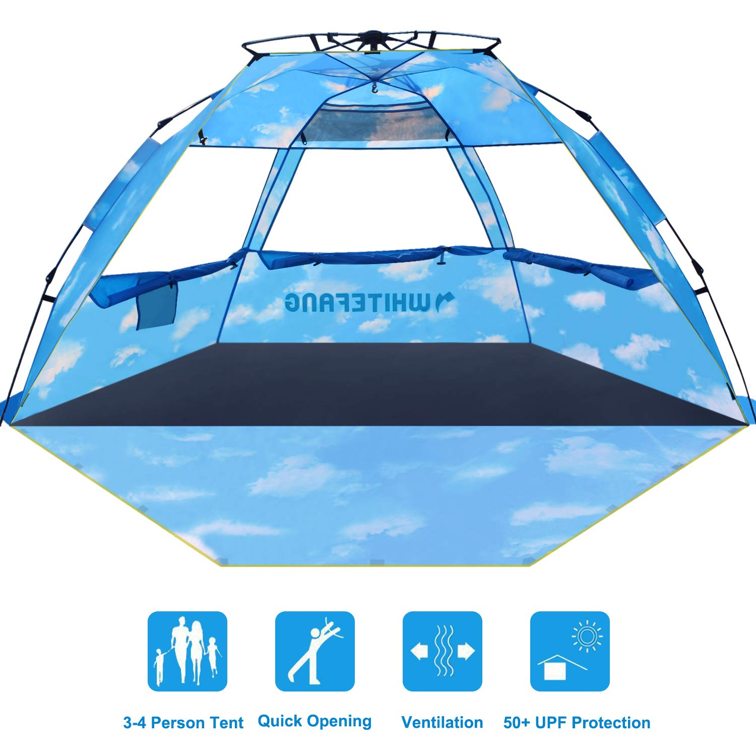Beach Tent, Pop Up Instant Family Tent with UPF 50 Sun Protection, 3-4 Person Automatic & Windproof Sun Shelter Cabana with Carrying Bag (Limited Edition-Cloud Print) by WhiteFang