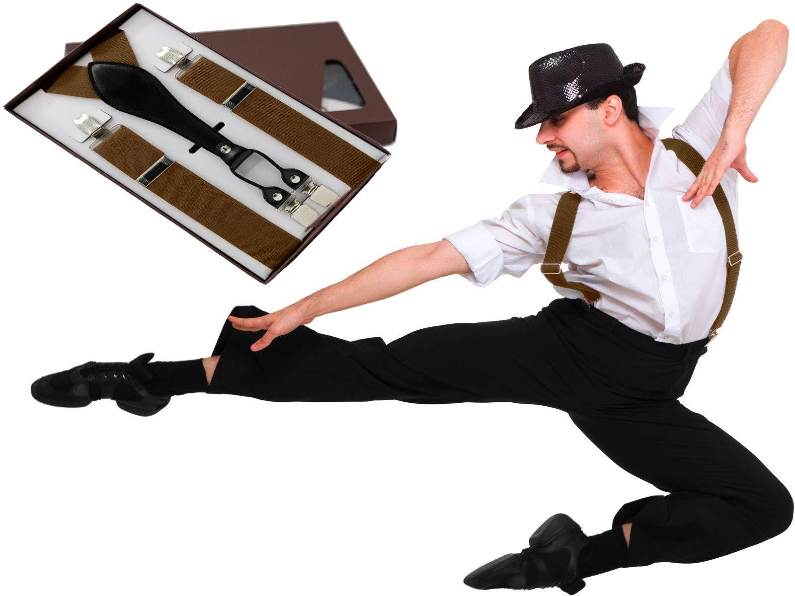 Rigma Mens Suspenders - Suspenders For Men - Adjustable Solid Straight Clip (Brown)