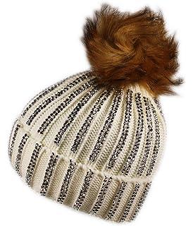 68afec3e45e Itzu Womens Ribbed Studded Diamante Diamond Beanie Hat Faux Fur Bobble Pom  Pom…