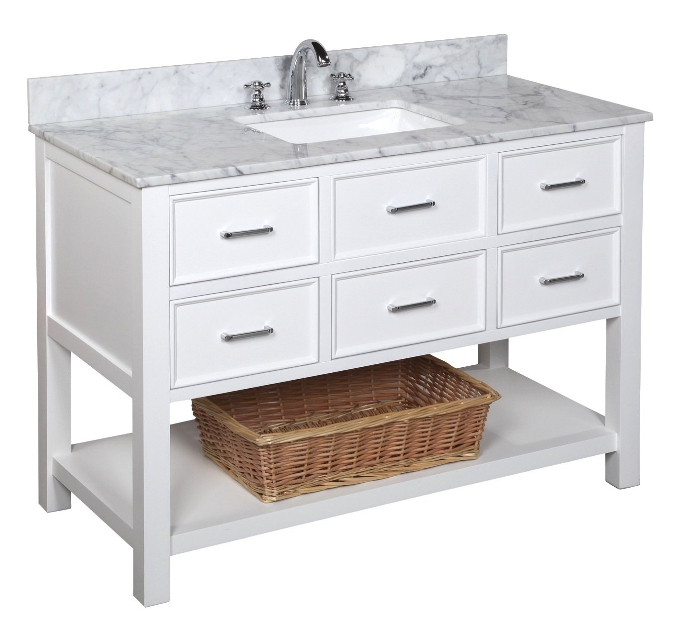 New Hampshire 48-inch Bathroom Vanity Carrara White Includes Authentic Italian Carrara Marble Countertop, White Cabinet with Soft Close Drawers, and White Ceramic Sink
