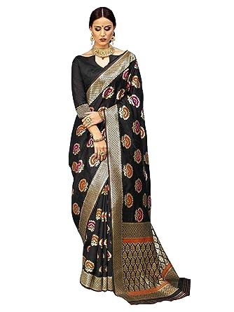 ae7881e90 Amazon.com  ELINA FASHION Sarees for Women Banarasi Art Silk Woven Saree l  Indian Wedding Wear Sari (Black 3)  Clothing