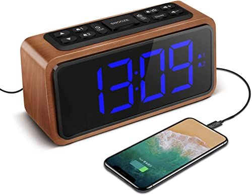 Radio Alarm Clock, Large LED Display Wood Digital FM Alarm Clock, Adjustable Brightness Dimmer and Snooze, Simple LED Clock with Dual Alarm, 12 24 Hour, Powered by AC Adapter Blue LED