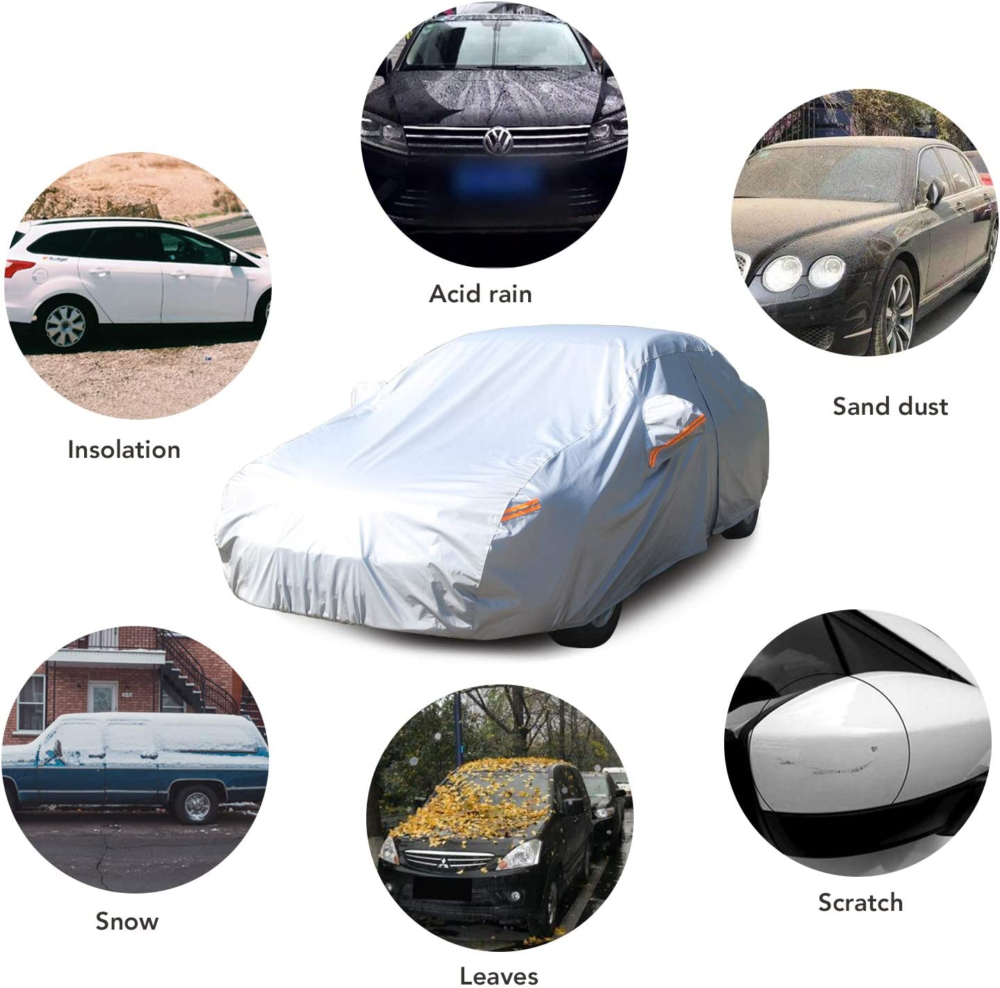MIMIDI SUV Car Cover Sun Protection Breathable Cover Waterproof Windproof Scratch Resistent Cover with Fleece Inner Lining L