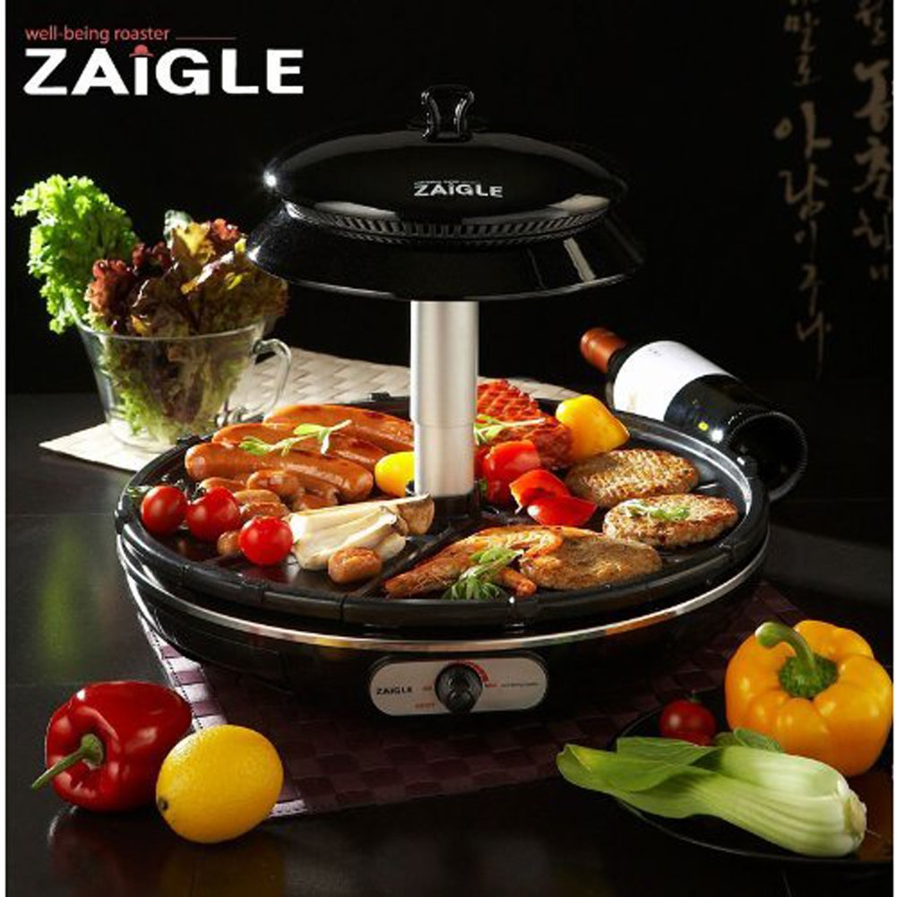 ZAIGLE Mini ZG-D321 Infrared Ray Well-being Roaster Indoor Electric BBQ Grill BLACK 220V 1200W Dimension 34cm 5 Stage Temperature control