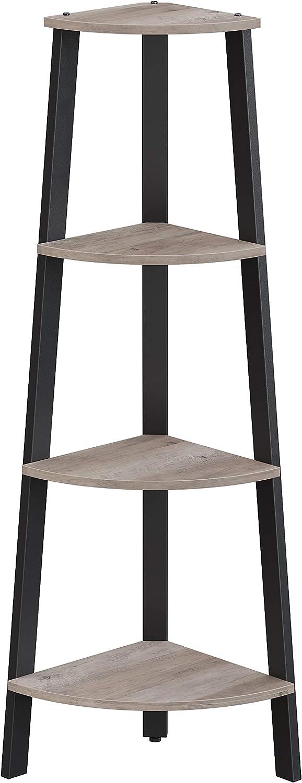 VASAGLE ALINRU Corner Shelf, 4-Tier Bookcase, Storage Rack, Plant Stand for Home Office, Industrial Accent Furniture with Steel Frame, Greige and Black ULLS034M01