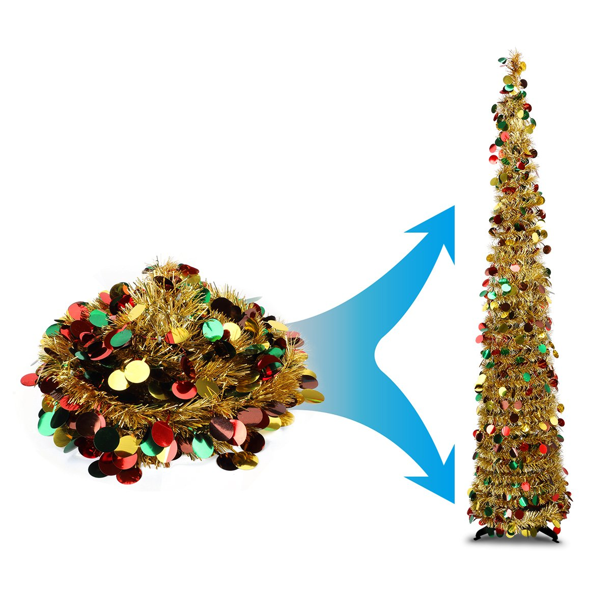 Collapsible Artificial Christmas Trees: 5 Foot Gold Multicolored Pop-up Collapsible Tinsel Pencil