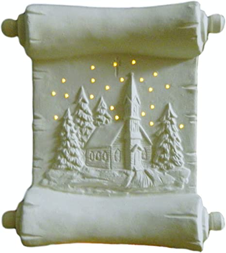 Plain Ready to Paint Ceramic Bisque Illuminated Christmas Scroll Winter Scene Night Light Hand Poured in The USA