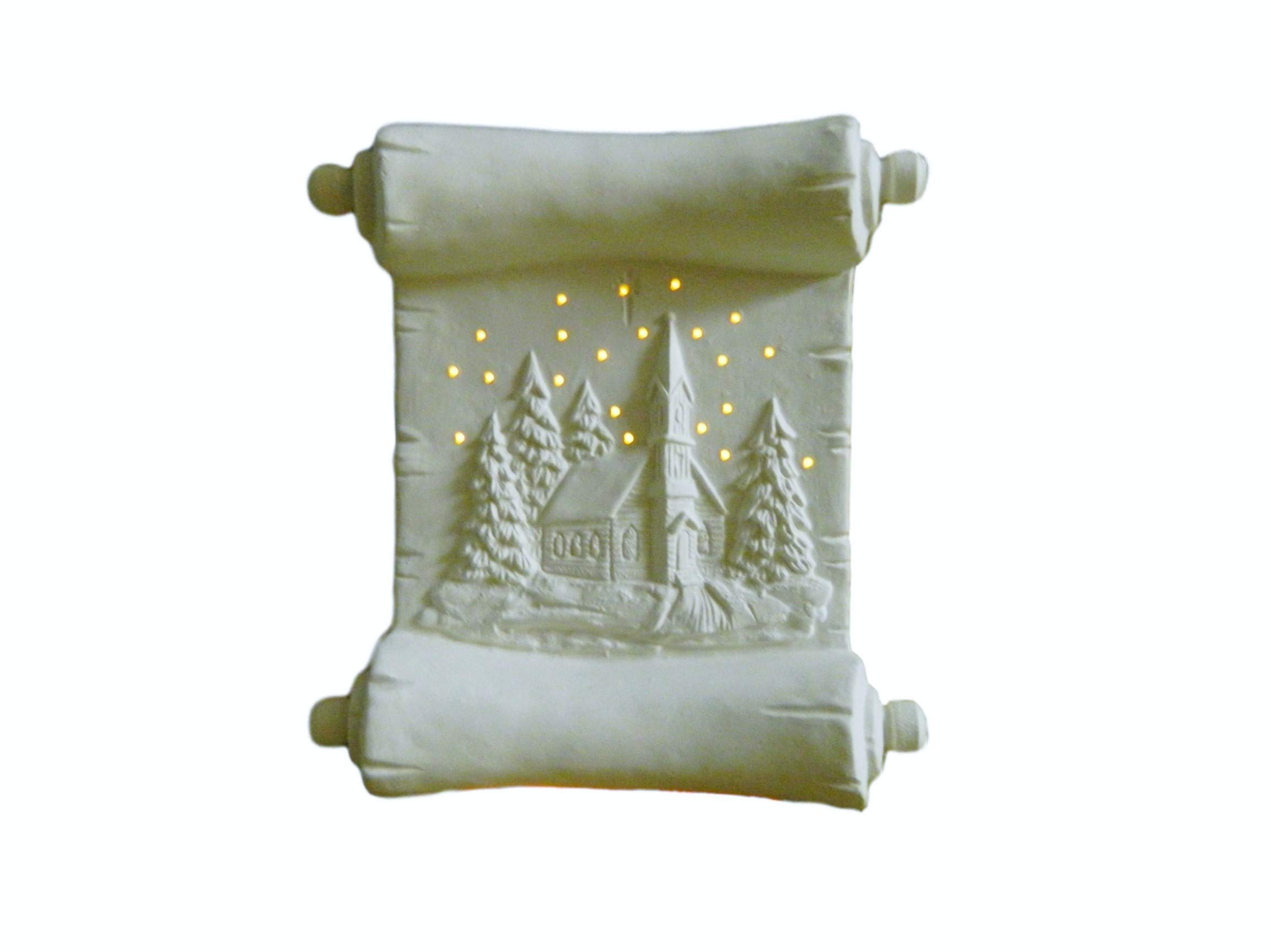 Illuminated Christmas Scroll Winter Scene Night Light - Ready to Paint Ceramic Bisque - Hand Poured in The USA (with White Clip in Light)