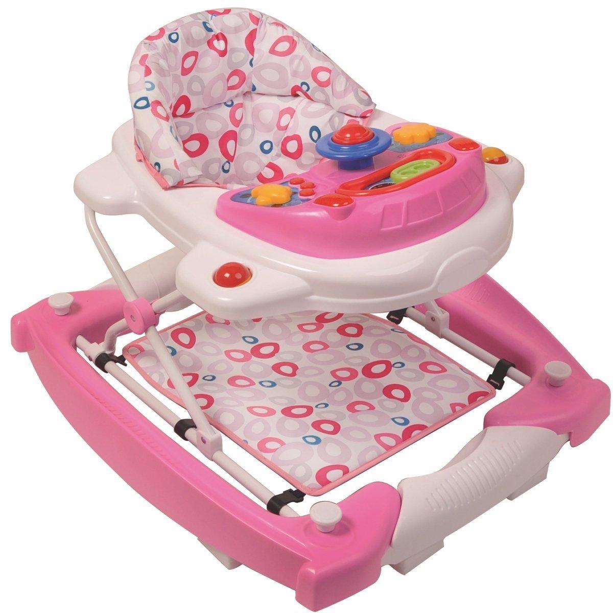 3IN1 Lauflernhilfe + Spielcenter (12 Melodien) Gehhilfe Baby Walker Babyschaukel (Candy) Stimo24