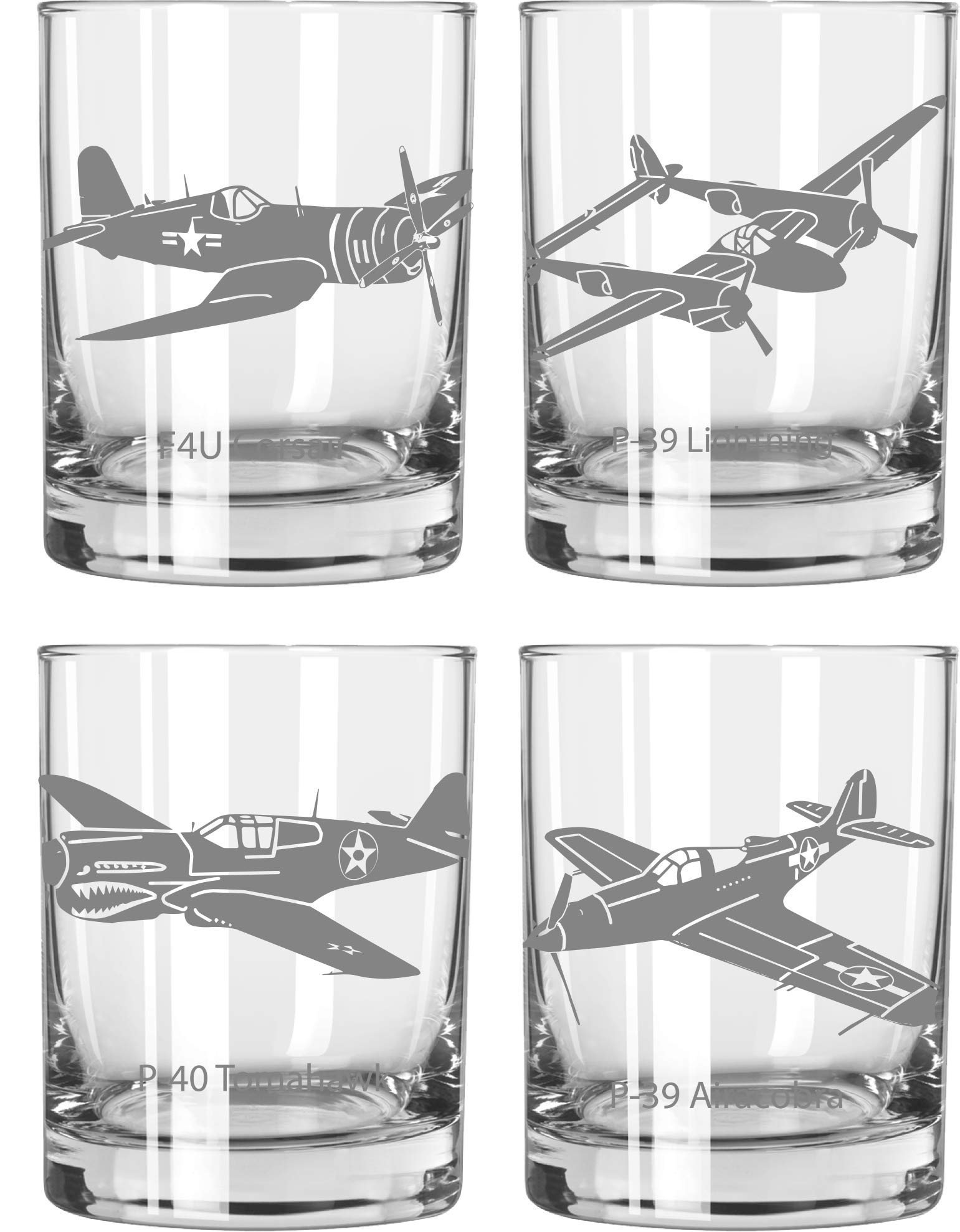 Warbirds WWII Fighter Plane Whiskey Glass Set of 4