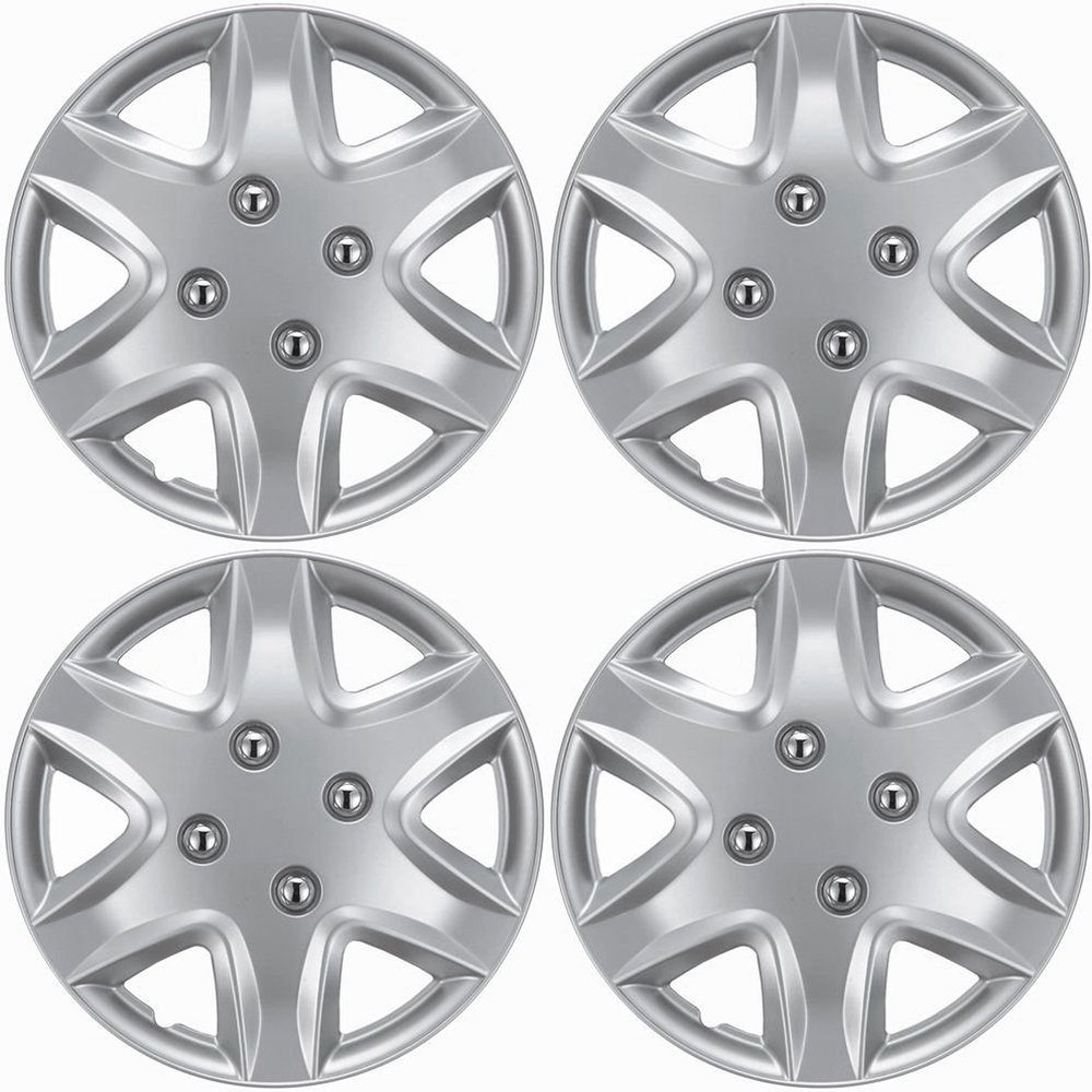 OxGord Hub-Caps for Select Chevy Aveo (Pack of 4) 14 Inch Silver Wheel Covers