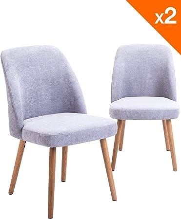 KAYELLES Chaise Scandinave DIMA, Lot de 2 chaises piètement