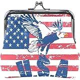 Vintage Distressed American Flag Coin Purse Mini Leather Hasp Handbag