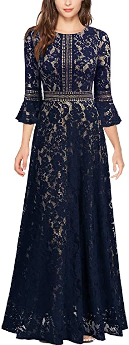 Women's Vintage Full Lace Contrast Bell Sleeve Formal Long Dress