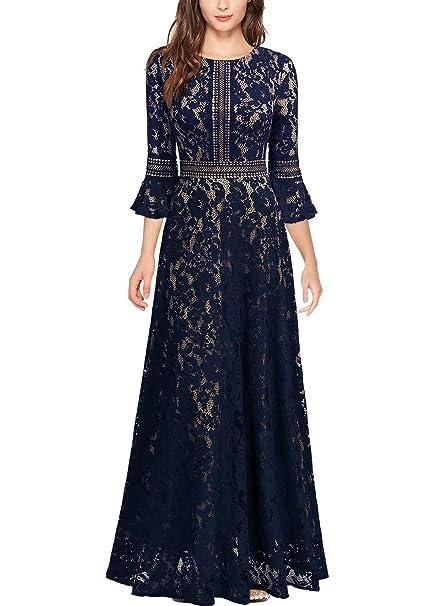 Missmay Womens Vintage Full Lace Contrast Bell Sleeve Formal Long Dress
