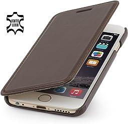 StilGut housse Book Type sans clip, en cuir pour iPhone 6s (4.7 pouces), marron acajou